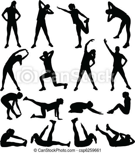 mulher, exercitar - csp6259661