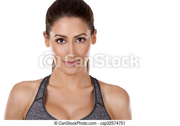 mulher, fundo, condicão física, branca - csp32574751