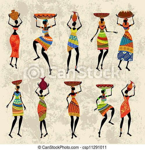 mulher, grunge, fundo, africano - csp11291011