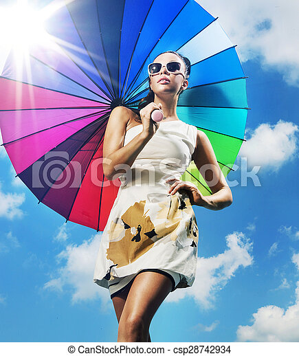 mulher, guarda-chuva, coloridos, na moda, foto, jovem - csp28742934