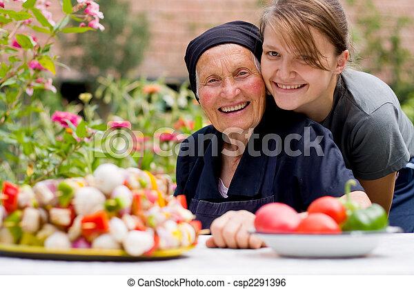 mulher, idoso, visitando - csp2291396