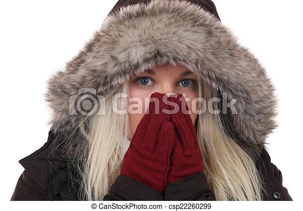 mulher, inverno, boné, congelação, jovem, luvas, gelado - csp22260299