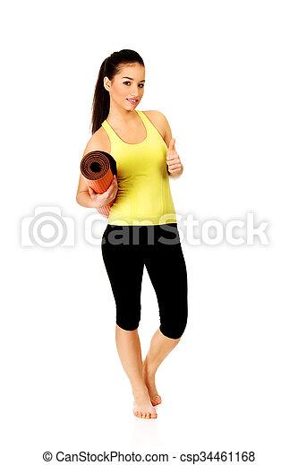 mulher, ioga, pronto, segurando, condicão física, mat. - csp34461168