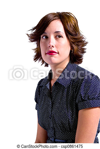 mulher, isolado, adulto, jovem - csp0861475