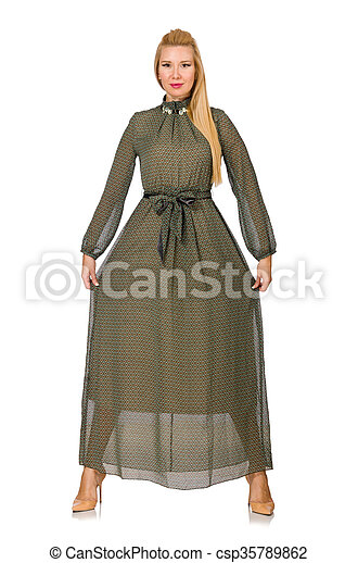 mulher, isolado, cabelo longo, verde, loura, vestido branco - csp35789862