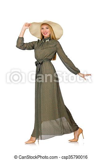 mulher, isolado, cabelo longo, verde, loura, vestido branco - csp35790016