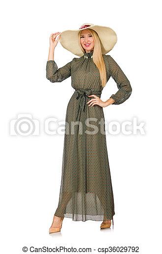 mulher, isolado, cabelo longo, verde, loura, vestido branco - csp36029792
