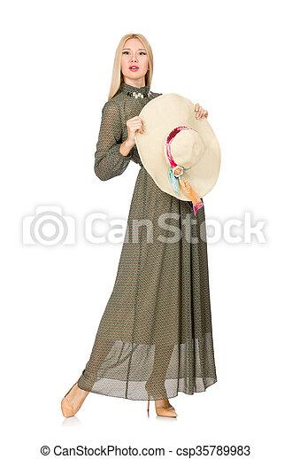 mulher, isolado, cabelo longo, verde, loura, vestido branco - csp35789983