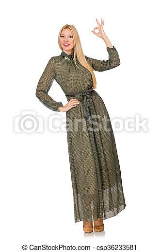 mulher, isolado, cabelo longo, verde, loura, vestido branco - csp36233581