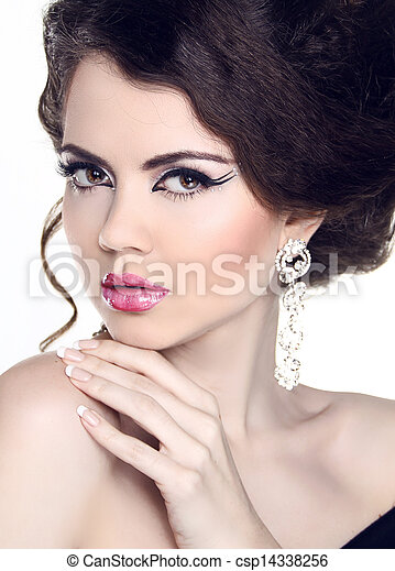 mulher, jóia, beleza, manicure, moda, portrait., make-up., hairstyle. - csp14338256
