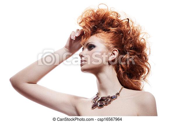 mulher, jóia, isolado, moda, luxo, retrato - csp16567964