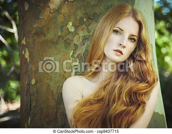 mulher, jardim, jovem, pelado, moda, retrato - csp9437715
