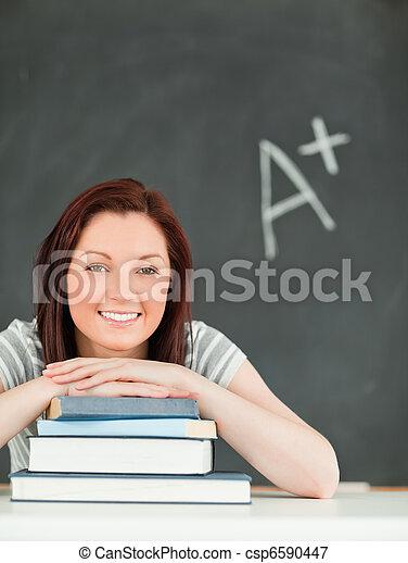 mulher, jovem, estudioso, retrato - csp6590447