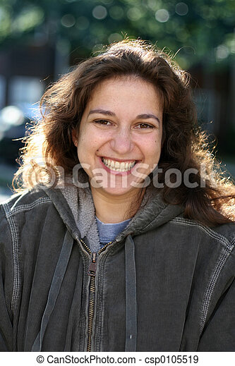 mulher, jovem, feliz - csp0105519