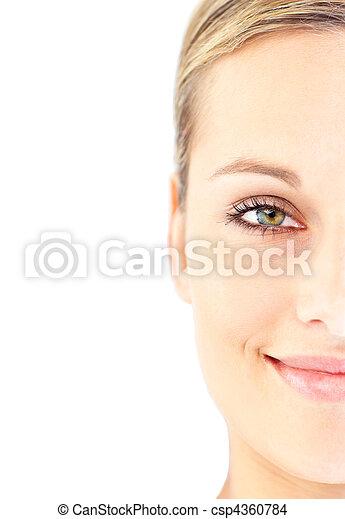 mulher, jovem, luminoso, mentindo, retrato, tabela, massagem - csp4360784