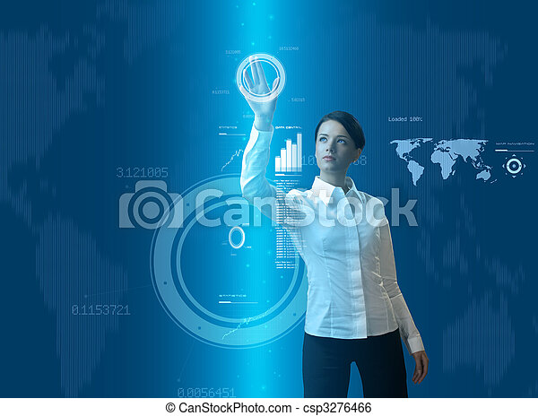 mulher, jovem, morena, atraente, interface, futurista - csp3276466