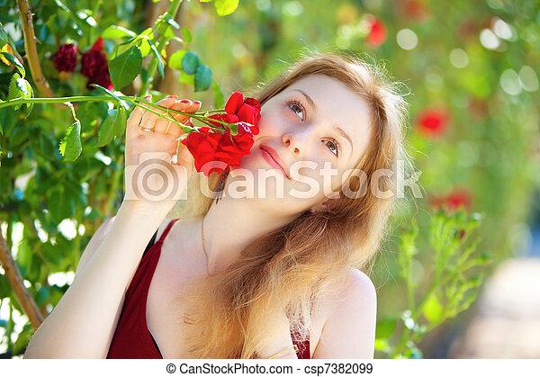mulher, jovem, romanticos - csp7382099