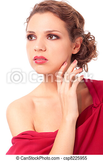 mulher, jovem, vestido vermelho, bonito - csp8225955
