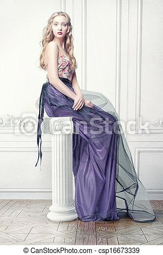 mulher, luxo, interior - csp16673339