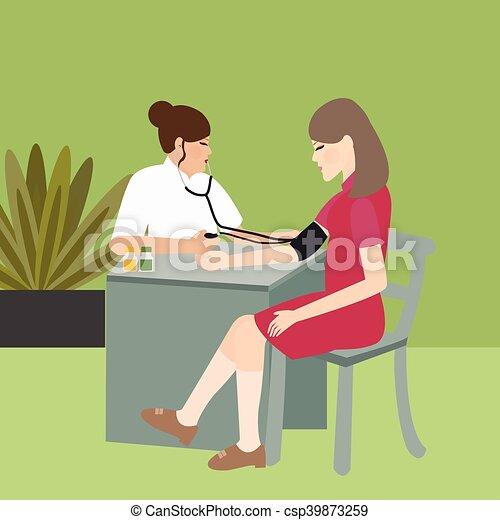 mulher, médico, pressão, sangue, enfermeira, cheque - csp39873259
