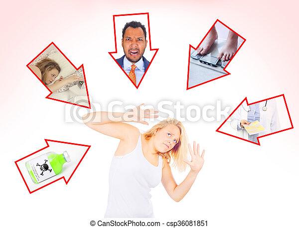 mulher, múltiplo, pressionado, edições - csp36081851