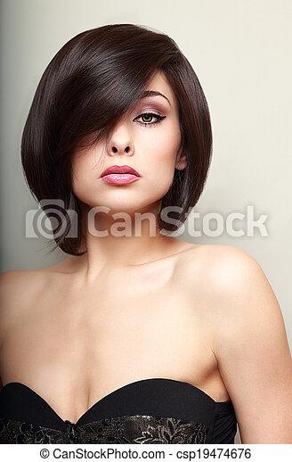 mulher, maquilagem, cabelo, shortinho, pretas, excitado - csp19474676