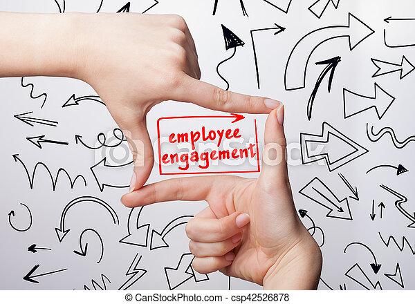 mulher, marketing., tecnologia, negócio, obrigação, jovem, escrita, internet, empregado, word: - csp42526878
