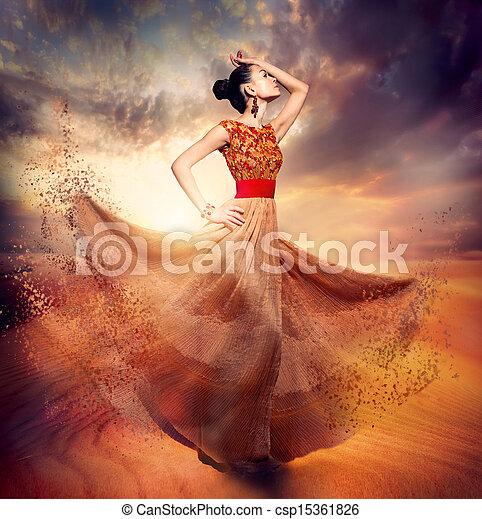 mulher, moda, dançar, desgastar, soprando, chiffon, longo, vestido - csp15361826