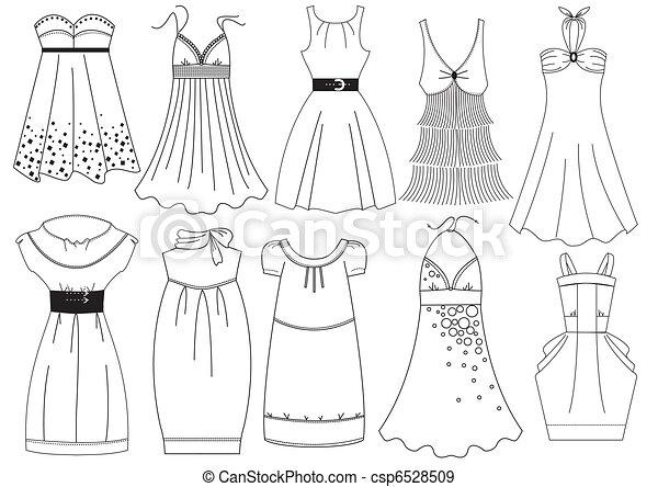 mulher, moda, white., vetorial, vestido, roupas - csp6528509