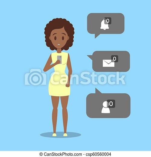 mulher, não, móvel, jovem, triste, telefone, segurando, mensagem, sinal - csp60560004