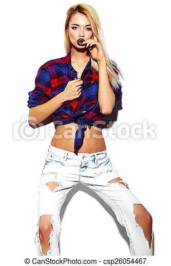 mulher, pano, luminoso, moda, glamor, excitado, jovem, modelo, alto, elegante, verão, loura, look., engraçado, bonito, hipster - csp26054467