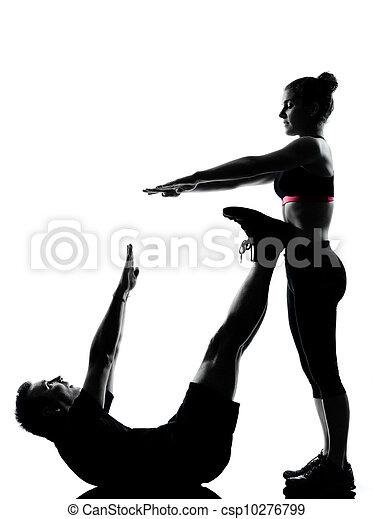 mulher, par, exercitar, um, condicão física, malhação, homem - csp10276799