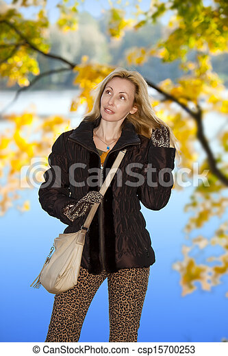 mulher, parque, outono, bonito - csp15700253