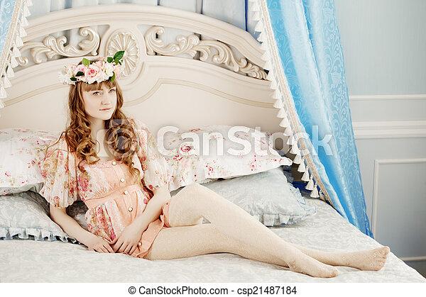 mulher, quarto, bonito - csp21487184
