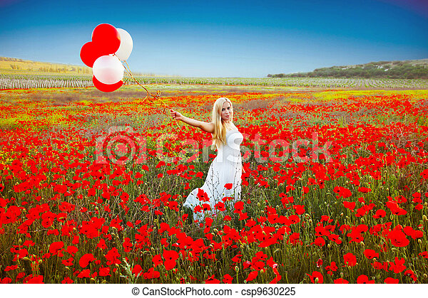 mulher, romanticos, campo, retrato, papoula, vestido branco - csp9630225