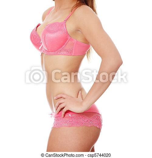 mulher, roupa interior, excitado - csp5744020