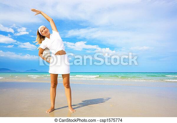 mulher saudável, estilo vida, exercises., manhã - csp1575774