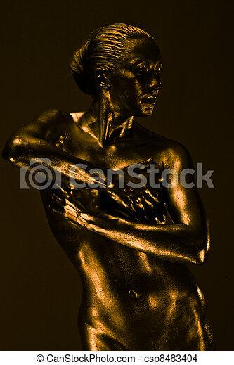 mulher, semelhante, líquido, pelado, metal, estátua - csp8483404