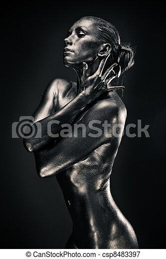 mulher, semelhante, líquido, pelado, metal, estátua - csp8483397