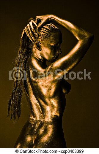 mulher, semelhante, líquido, pelado, metal, estátua - csp8483399