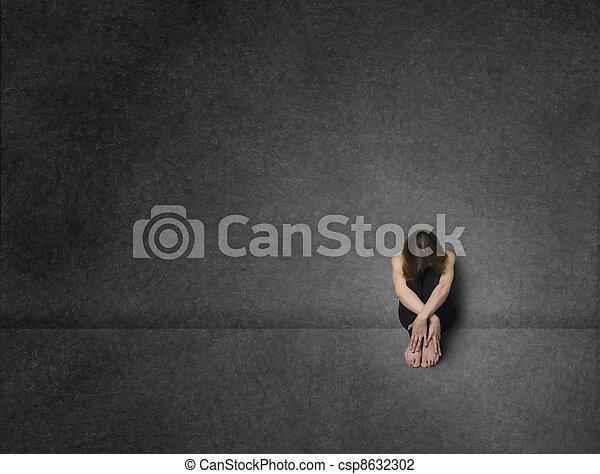 mulher, tiro estúdio, triste - csp8632302