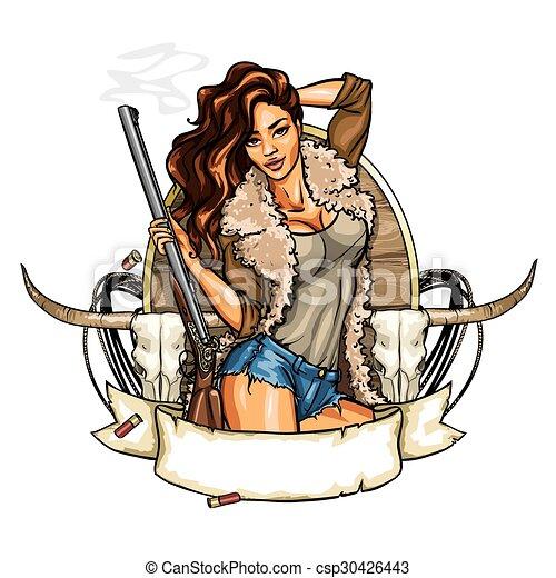 mulher, tiro, segurando, caça, arma, etiqueta, bonito - csp30426443