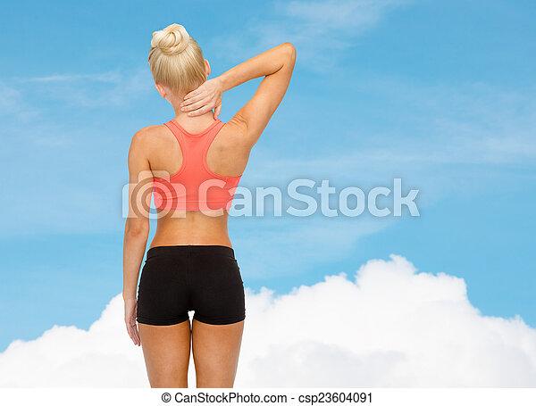 mulher, tocar, sporty, dela, pescoço - csp23604091