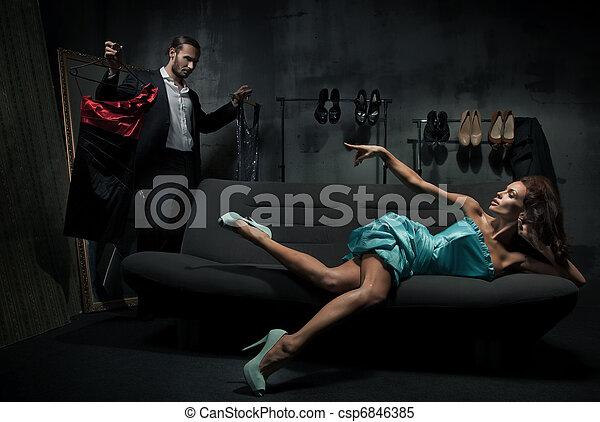 mulher, treinador, excitado - csp6846385