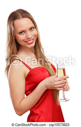 mulher, vestido, vermelho - csp10573623