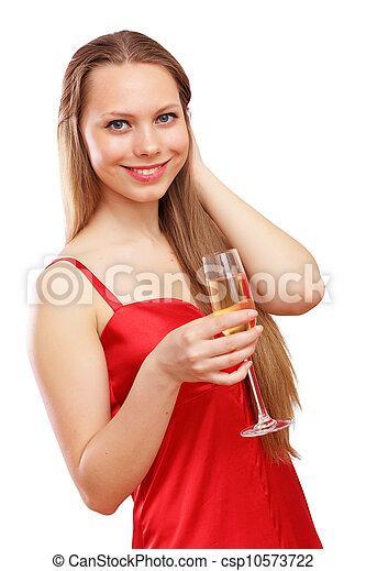 mulher, vestido, vermelho - csp10573722