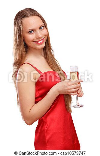 mulher, vestido, vermelho - csp10573747