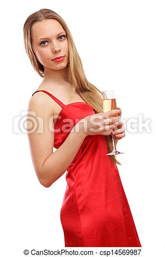 mulher, vestido, vermelho - csp14569987