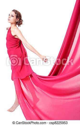 mulher, vestido, vermelho, voando, bonito - csp8225953
