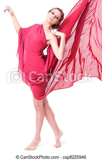mulher, vestido, vermelho, voando, bonito - csp8225946